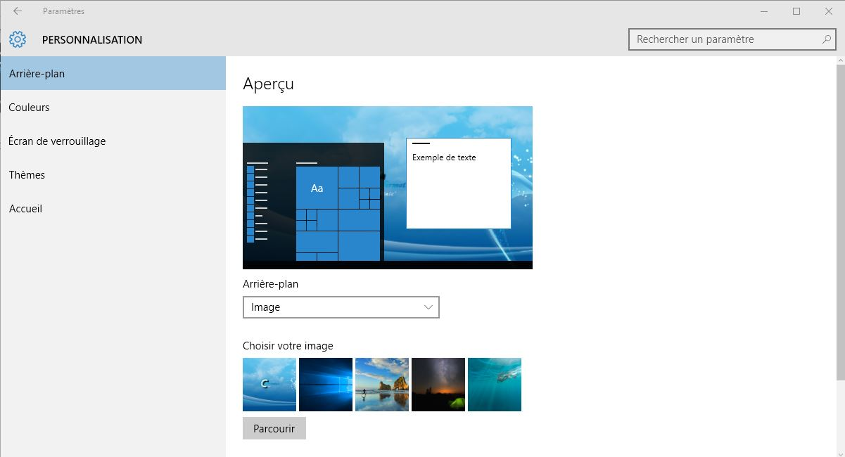 Personnaliser le bureau Windows 10